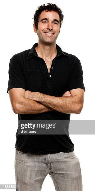 happy smiling young man posing with arms crossed - polo shirt stock pictures, royalty-free photos & images