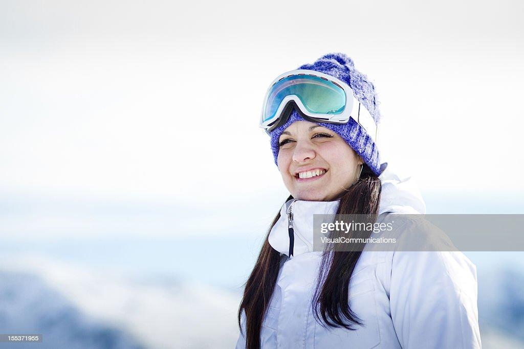 happy snowboarder smiling. : Stock Photo