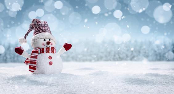 Happy snowman in winter secenery 1065457848