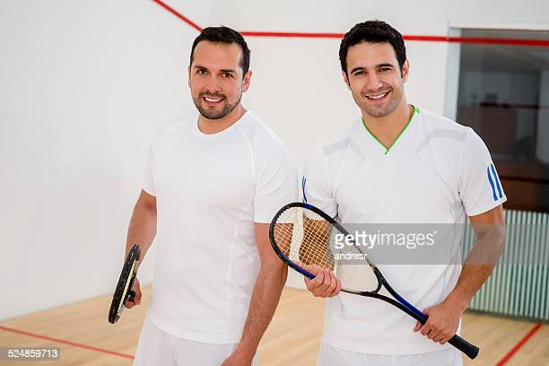 Happy squash players