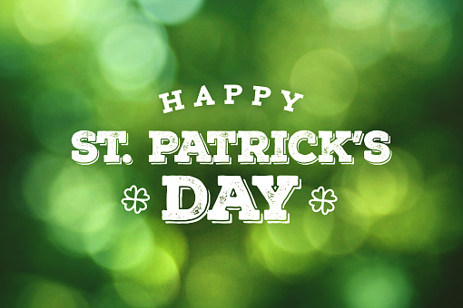 Happy St. Patrick's Day Text Over Green Bokeh Lights 921250318