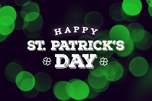 Happy St. Patrick's Day Text Over Green Duotone Lights 921274114
