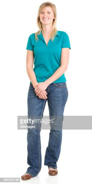 happy standing young woman - short sleeved stock pictures, royalty-free photos & images