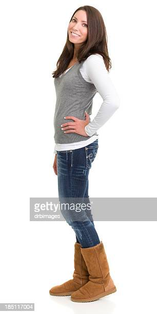 Happy Standing Young Woman Posing