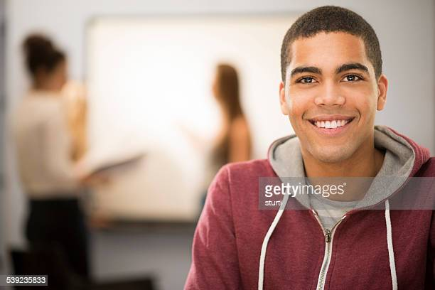 happy student in class