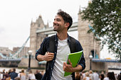 Happy student in London