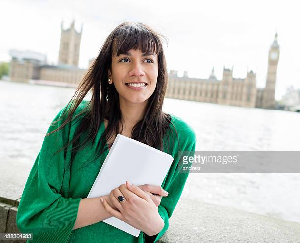 Happy student in London