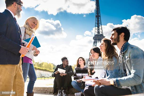 Happy student in paris during the lesson