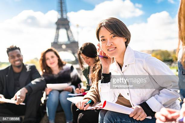 happy student in paris during the lesson - french culture stock pictures, royalty-free photos & images