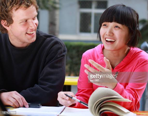happy student learning chinese