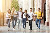 Happy students walking together in campus, having break
