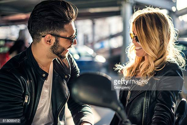 Happy stylish couple