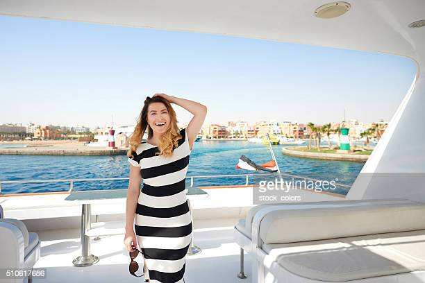 happy summer feelings - striped dress stock photos and pictures