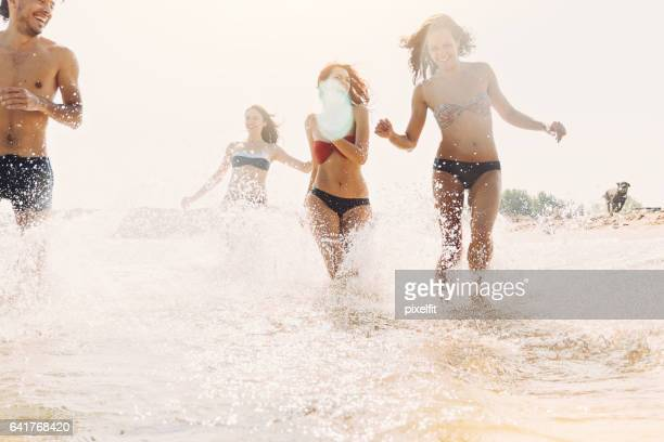 happy summer splashing - bulgarian girl stock photos and pictures