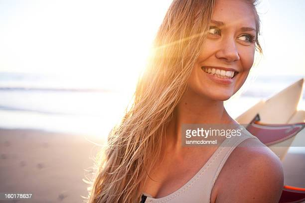 happy surfer girl - california photos stock photos and pictures