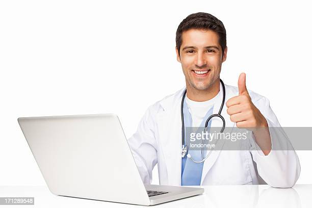 Happy Surgeon Gesturing Thumbs Up - Isolated