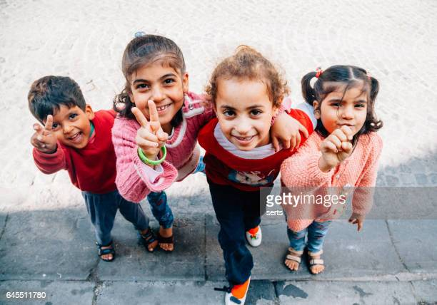 Happy Syrian kids enjoying in Istanbul streets