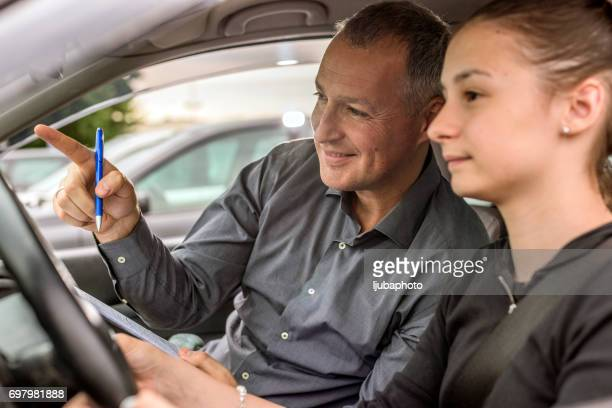 Happy Teen and Parent in the Car