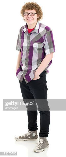 happy teenage boy standing portrait - nerd stock pictures, royalty-free photos & images