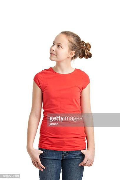 happy teenager girl in red tshirt