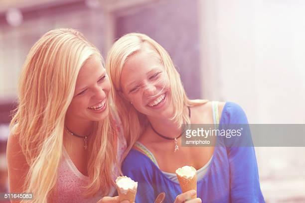 happy teens with ice cream
