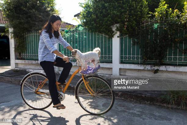 Happy Thai Woman Riding Bicycle with Dog in Basket