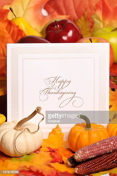 happy thanksgiving greeting card - happy thanksgiving card stock pictures, royalty-free photos & images