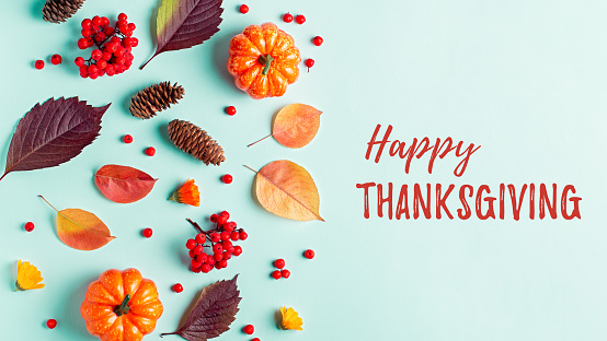 Happy Thanksgiving greeting card with leaves, pumpkins, rowan berries on mint background. Fall, thanksgiving concept. 1179136274