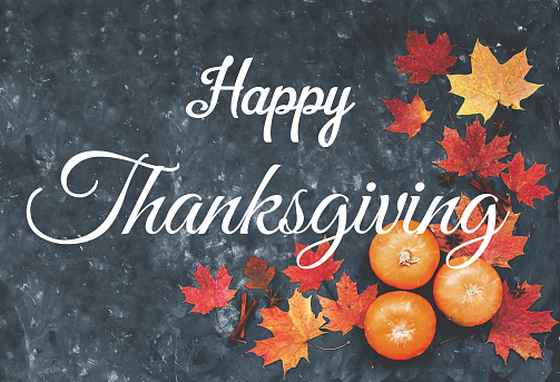 Happy Thanksgiving greeting card with maple leaves, pumpkins, cinnamon and  anise. 1167713680