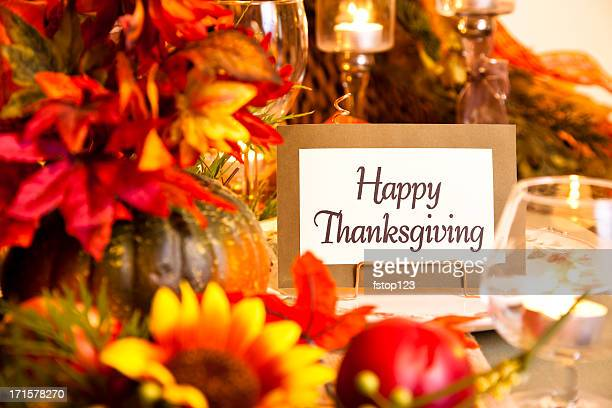 happy thanksgiving place setting. autumn flower centerpiece. table. - happy thanksgiving card stock pictures, royalty-free photos & images