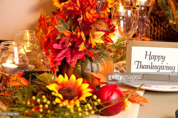 happy thanksgiving place setting - happy thanksgiving text stock pictures, royalty-free photos & images