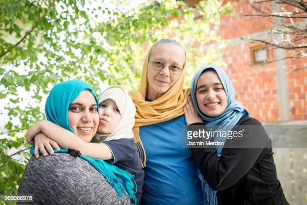 Happy three generational family