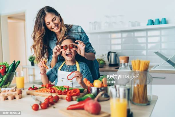 happy time in the kitchen - mother's day stock pictures, royalty-free photos & images