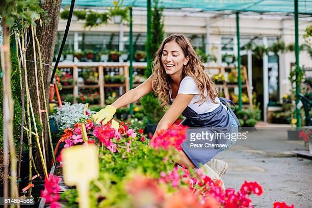 Happy to work in the garden center