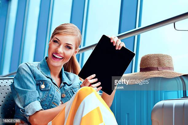 happy tourist at the airport - izusek stock pictures, royalty-free photos & images