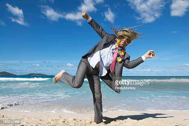Happy Tourist Businessman Dancing Crazy on the Beach