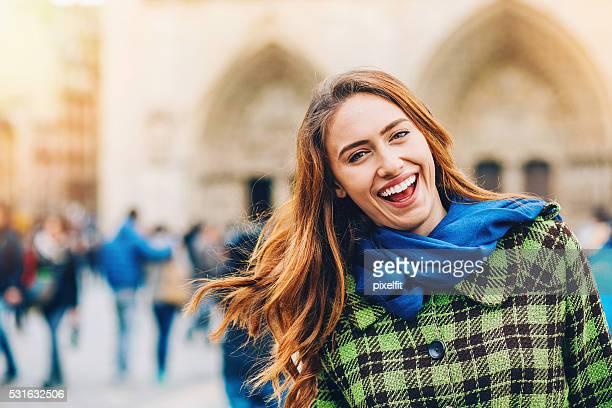 Happy tourist in Paris