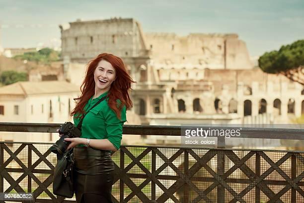 happy tourist in Rome