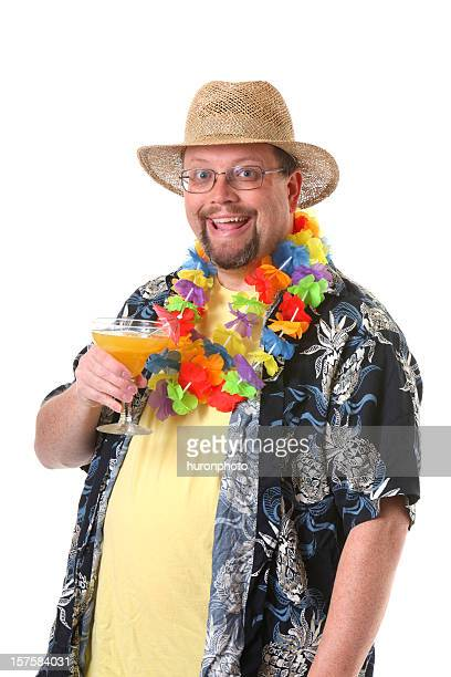 happy tourist - hawaiian lei stock pictures, royalty-free photos & images