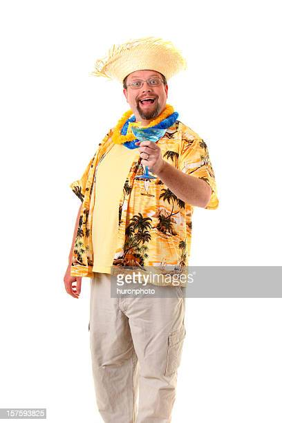 happy tourist - hawaiian shirt stock photos and pictures