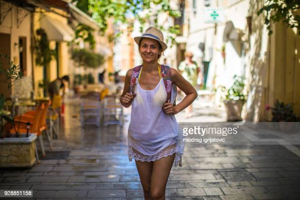 Happy Traveler Exploring Corfu,Greece