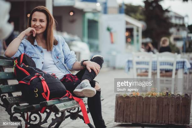 Happy traveler woman