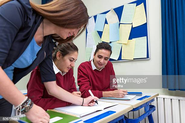 Happy Turkish Students and Teacher Working Together, School, Istanbul