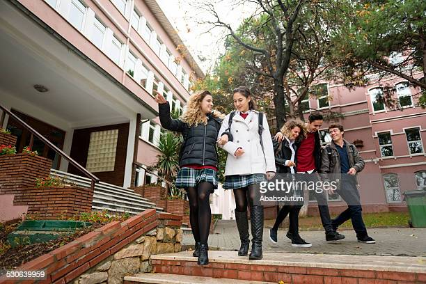 Happy Turkish Students Leaving for Home, College Campus, Istanbul
