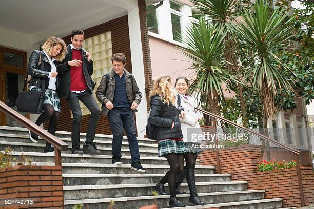 Happy Turkish Students Leaving for Home from School, Istanbul