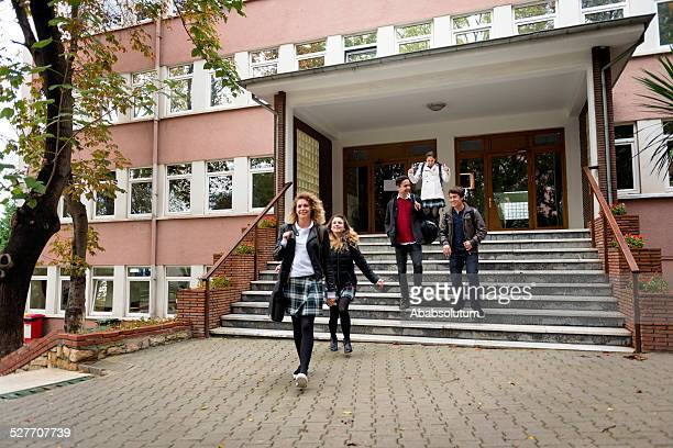 happy turkish students leaving school, istanbul - high school building stock pictures, royalty-free photos & images