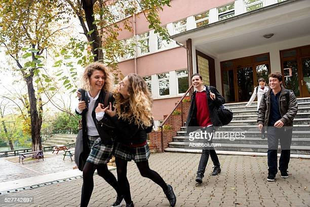 Happy Turkish Students Running out  School, Istanbul