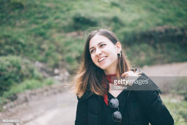 Happy Turkish Woman Walking At Nature