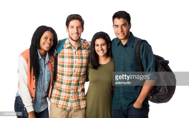 happy university friends smiling at camera - four people stock pictures, royalty-free photos & images