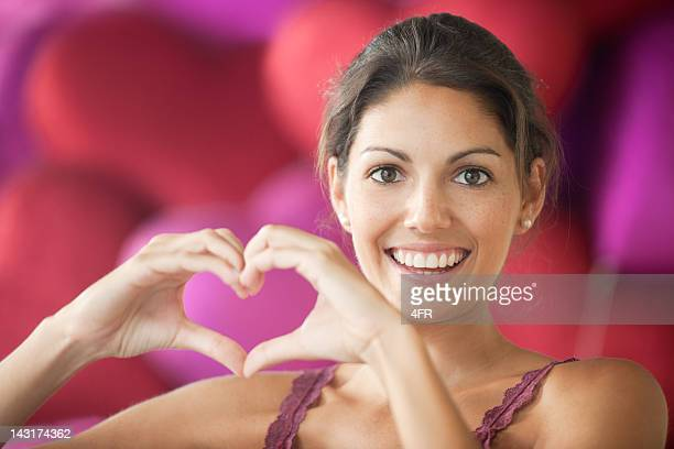 Happy Valentine - Beautiful woman making a Heart (XXXL)